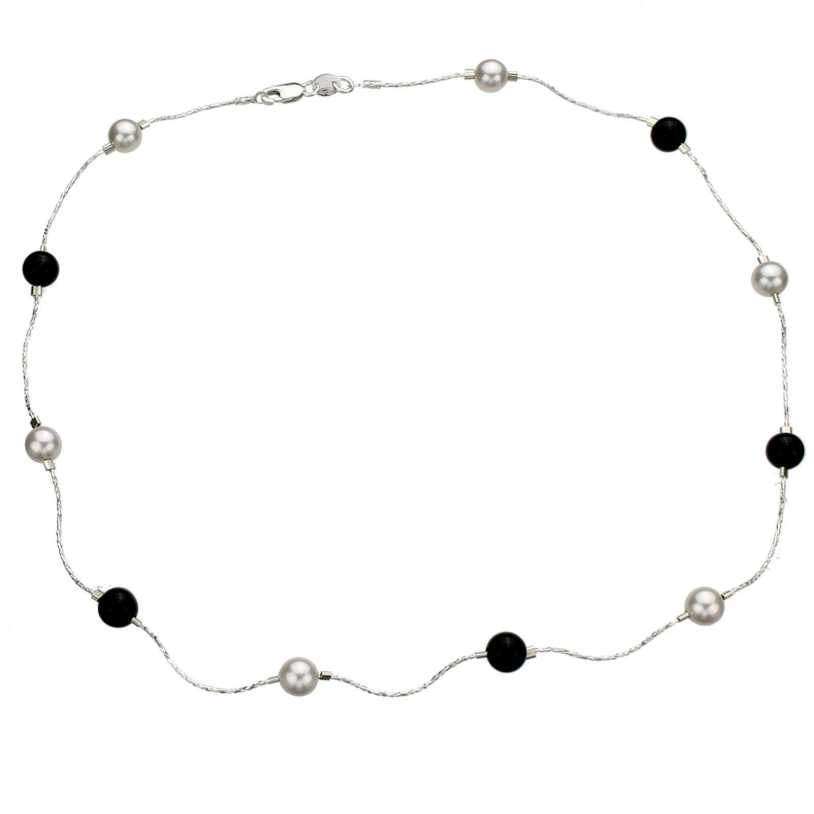 Sterling Silver Chain Necklace, Simulated Pearls Made with Swarovski Crystals, Onyx Stone Beads 18''