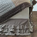 Piper Classics Ruffled Chambray Taupe-Grey King Bed Skirt, Farmhouse Style, 16'' drop
