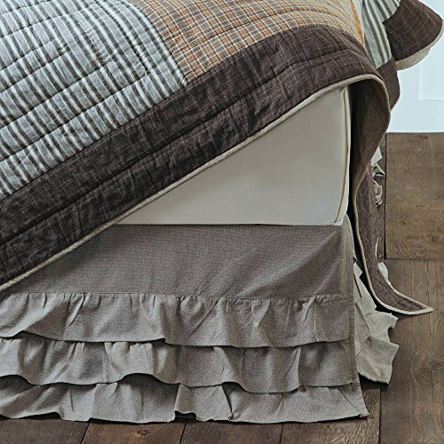 Piper Classics Ruffled Chambray Taupe-Grey King Bed Skirt, Farmhouse Style, 16