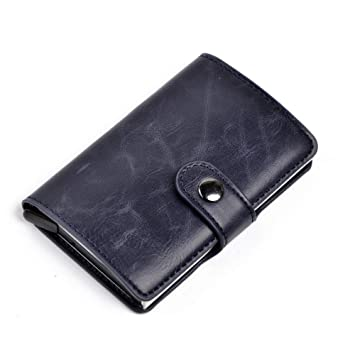 Daoseng Tarjetero RFID Cartera Crédito, Tarjetero para Tarjetas de Crédito Cartera de Aleación de Aluminio Multiuso Bolsillos (A1-Azul): Amazon.es: Equipaje