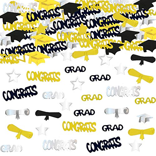 Graduation Decoration Confetti for Grad Party 1.1 oz-Congrats, Grad, Star, Graduation Cap, Diploma Gold, Black, Silver Mix Color]()