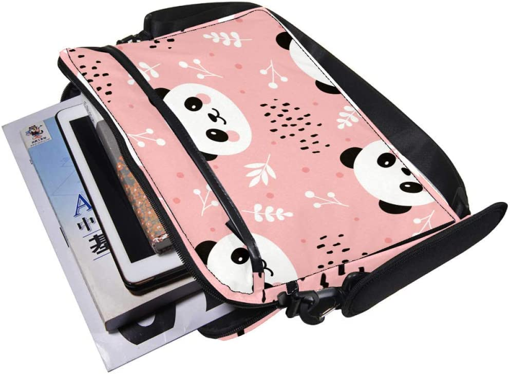 Cute Panda Head Pattern Laptop Messenger Bag Zipper Notebook Computer Sleeve Case Compatible 14-15.4 Inch Laptop