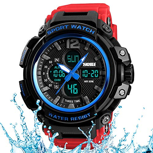 Men's Watch boy Big face Casual Sports Military Watch Chronograph Calendar Date Outdoor Waterproof with Alarm Clock Watch 12/24H (Blue/red)