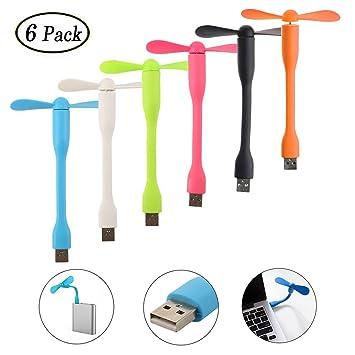 Swallowzy Mini Ventilador USB 6 Pack portátil Flexible refrigerador Ventilador de refrigeración para Ordenador PC portátil