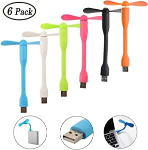 Swallowzy Mini Ventilador USB 6 Pack portátil Flexible refrigerador Ventilador de refrigeración para Ordenador PC portátil Power Bank: Amazon.es: Electrónica