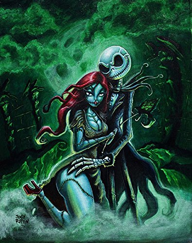 Jack & Sally by Joey Rotten Skellington Character Tattoo Framed Wall Art Print]()
