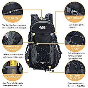 Diamond Candy Hiking Backpack 40L Waterproof Outdoor Lightweight Travel Black Backpacks for Men and Women with Rain Cover, Bag for Mountaineering Camping Climbing Cycling Fishing