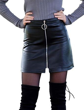 a04243202 Sungtin Women's Classic High Waist Zipper Bodycon Faux Leather Mini Pencil  Skirt Black Small