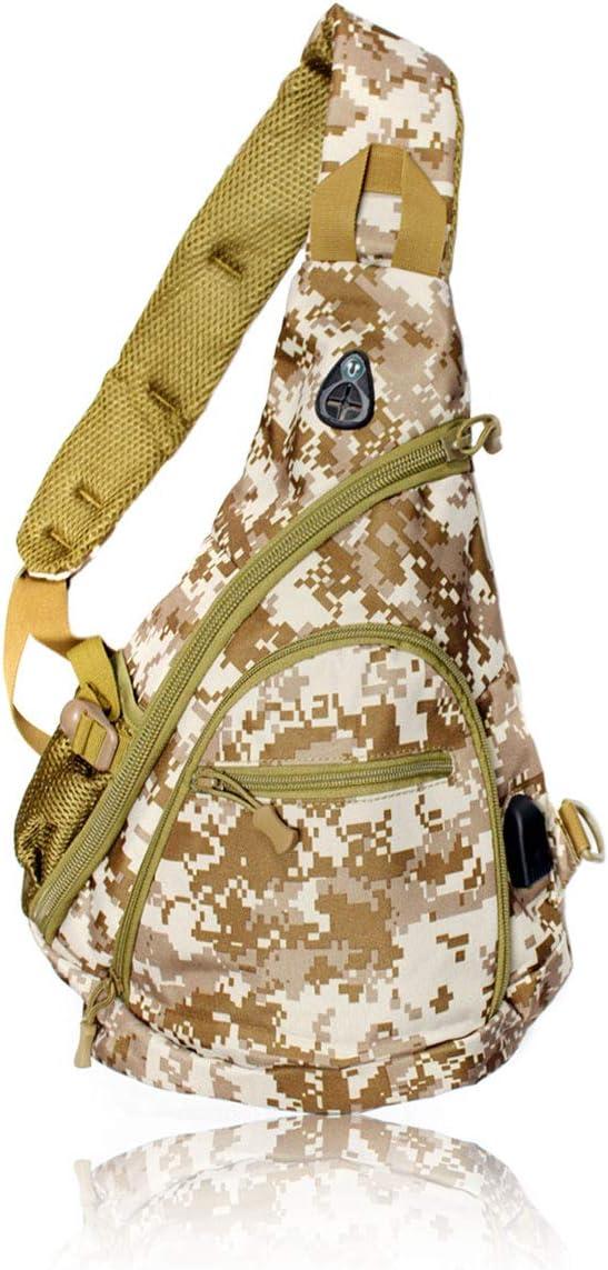 Tac Threads Digital Desert Camo Canvas Crossbody Sling Bag, Shoulder Bag, Mini Travel Backpack with USB Port for Charging, Hunting Fishing Water Resistant Daypack