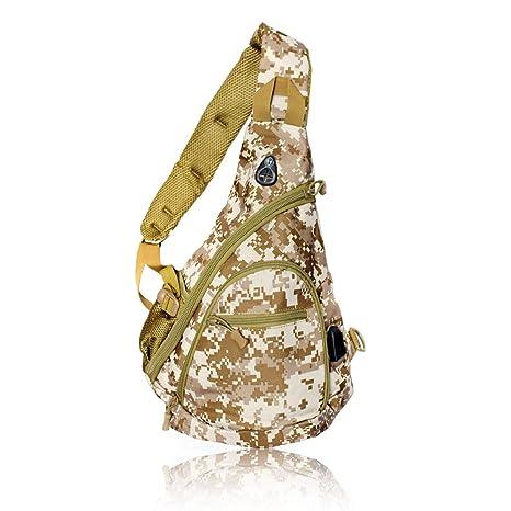 ad635f3c84b4 Tac Threads Digital Desert Camo Canvas Crossbody Sling Bag, Shoulder Bag,  Mini Travel Backpack with USB Port for Charging, Hunting Fishing Water ...