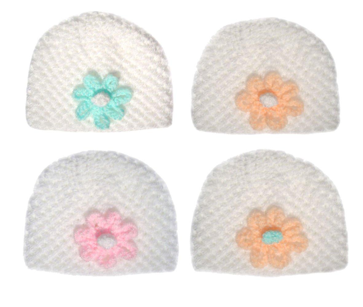 Blanco tejido a mano bebé Beanie gorro con flor de color a la parte ...