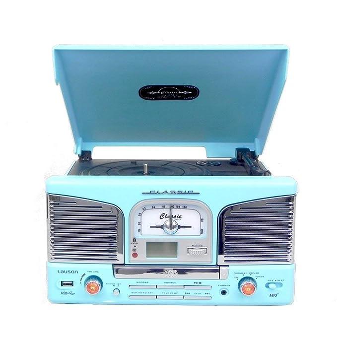 Lauson Tocadiscos Retro Bluetooth y MP3, para CD, USB con ...