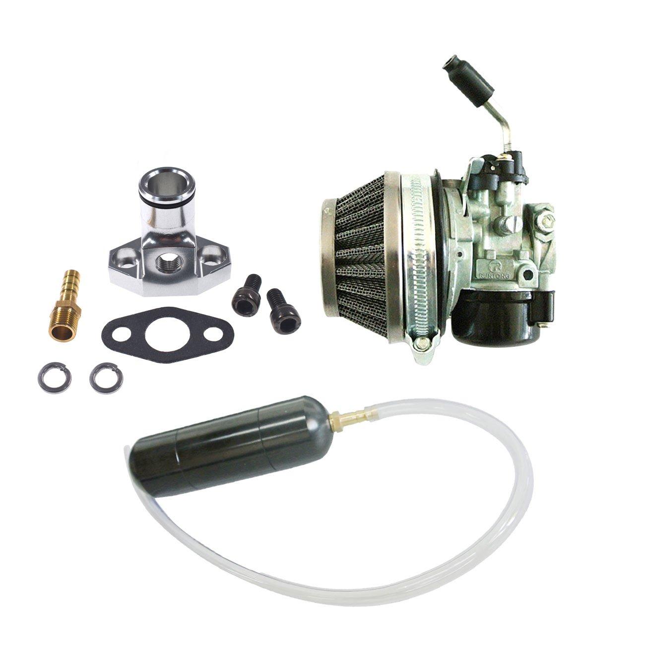 JRL Carburetor&Black Gas Power Boost Bottle For 66cc 80cc Engine Motorized Bicycle Linhai Power