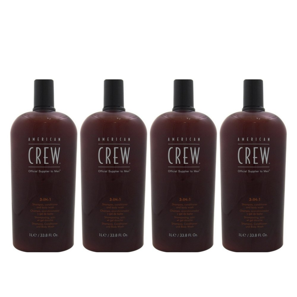 American Crew Men Classic 3 in 1 Shampoo/Conditioner/Body Wash, 33.8 Ounce (4 Pack)