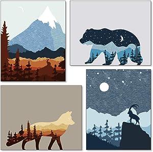 Confetti Fox Mid Century Abstract Wall Art, Modern Nursery Decor, Mountain Landscape Vintage Nature Posters, Little Boys Bedroom Adventure Wildlife, Forest Fox Bear (8x10 Unframed Set of 4 Prints)