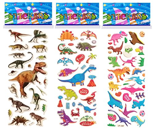 Dinosaur Party Stickers - 6 Sheets Puffy Dimensional Scrapbooking Party Favor Stickers + 18 FREE Scratch and Sniff Stickers - DINOSAURS