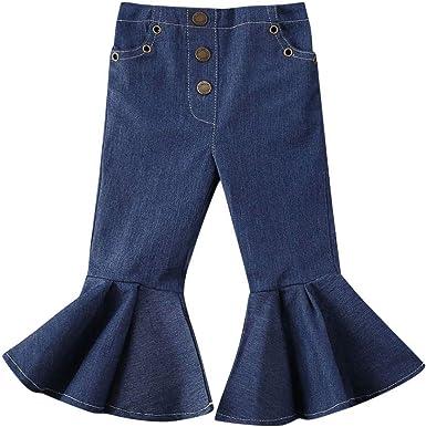 Amazon Com Fufucaillm Pantalones Vaqueros Acampanados Para Nina Pantalones Vaqueros De Mezclilla Para Nina Pequena Pantalones Acampanados Pantalones 1 6t Clothing