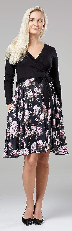 Femme Maternit/é Robe de Grossesse Manches Longues Col en V 681p Happy Mama Chelsea Clark