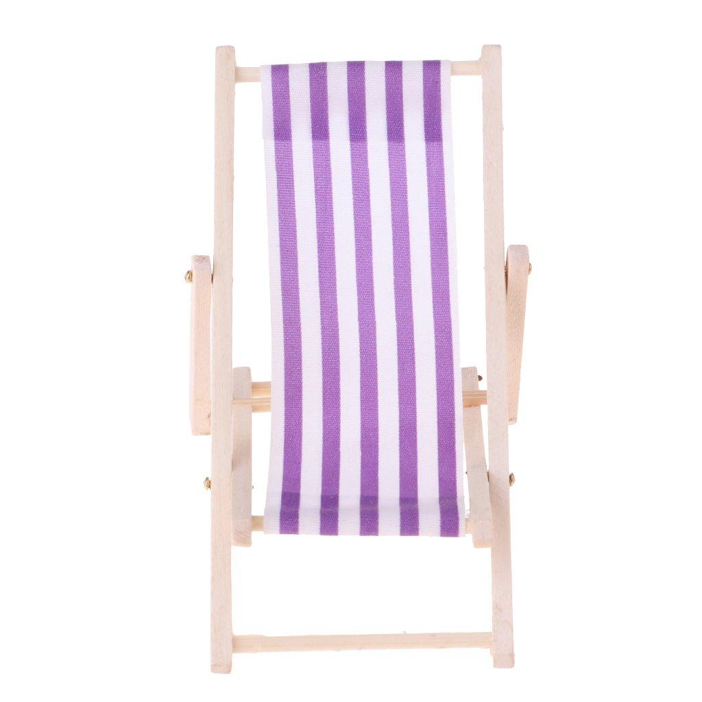 Gr/ün Homyl 1//12 Puppenhausm/öbel Miniatur gestreifte Liegestuhl Klappstuhl Strand Urlaub Gartenliege aus Holz