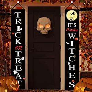 REMASIKO Halloween Decorations Outdoor - Trick or Treat It's October Witches Halloween Signs for Front Door or Indoor Home Decor Halloween Welcome Signs-Porch Decorations