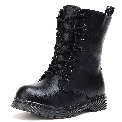 UBELLA Kids Boys Girls Black High Top Zipper Lace,Up Martin Boots Combat  Riding Boots