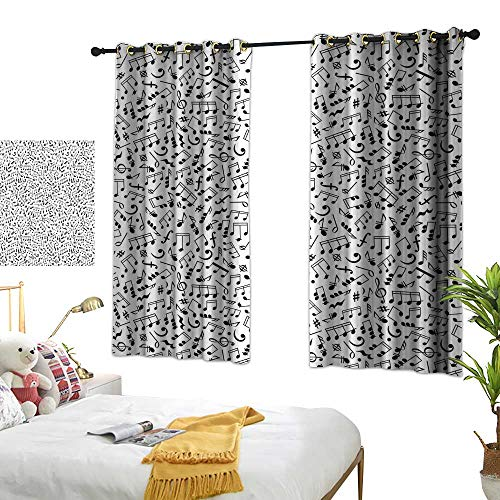 RuppertTextile Black and White Decor Curtains Musical Composition with Notes Quavers Chords Treble Clefs Sheet Elements 72