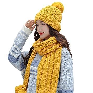 20116fbaefe elegantstunning Woman en Tricot Ensemble de Bonnet et Echarpe pour l hiver  en Plein air