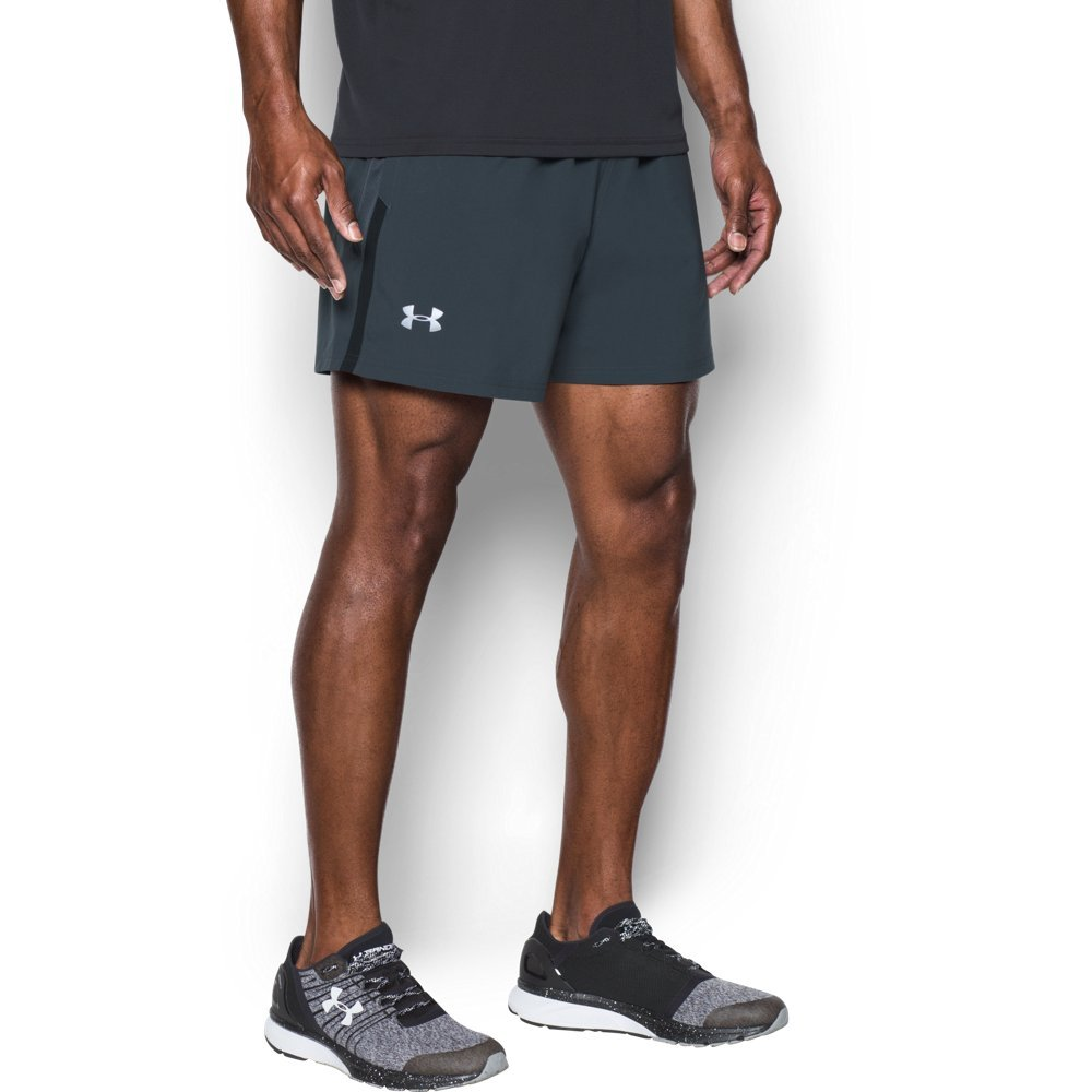 Under Armour Men's Launch 5'' Shorts, Stealth Gray /Reflective, Small
