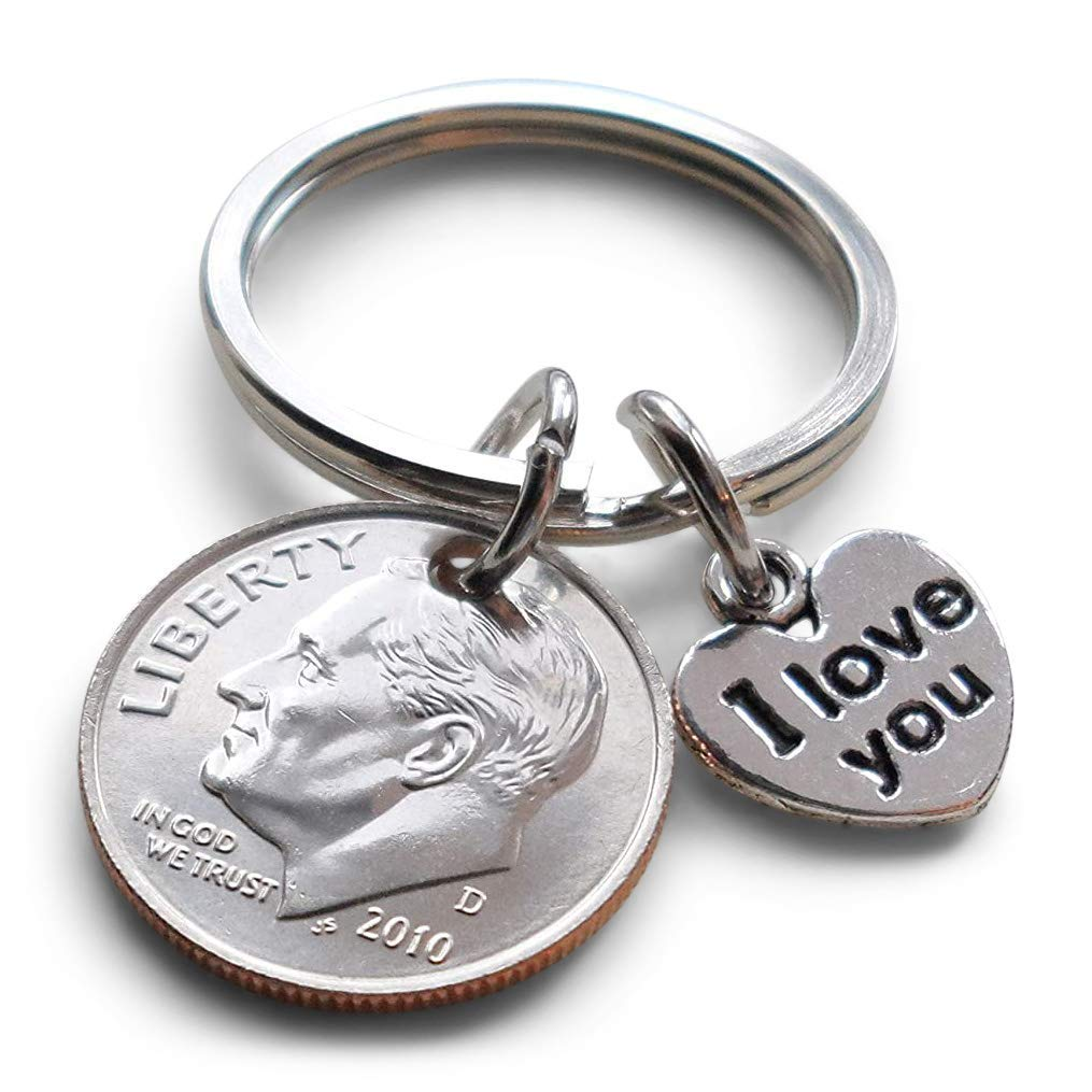 Stamped DIME 10th Tenth Wedding Anniversary for Wife Husband Personalized Initials Date 10 Year Anniversary Keychain Tin Anniversary Gift