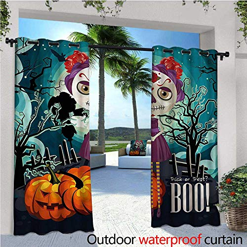 warmfamily Halloween Outdoor- Free Standing Outdoor Privacy Curtain Girl Sugar Skull Makeup for Front Porch Covered Patio Gazebo Dock Beach Home W108 x L84