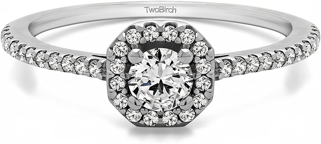Sizes 3 to 15 in 1//4 Size Intervals Diamond Engagement Ring in Silver or Gold