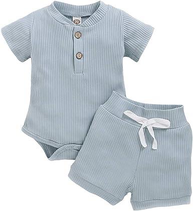 Amazon Com Conjunto De Body Y Pantalones Cortos De Manga Corta Para Bebes Y Ninas Clothing