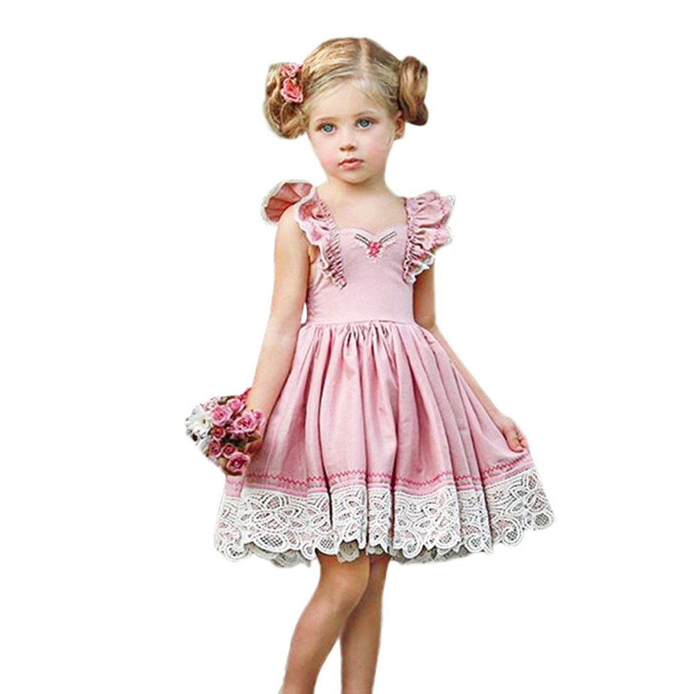 Gufenban Baby Girl Pageant Flower Girl Dress Kids Fancy Wedding Bridesmaid Gown Formal Mini Princess Dresses (Pink, 5 Years) by Gufenban (Image #1)