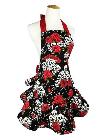 Amazon.com  TLY Womens Cute Floral Skull Skirt Canvas Apron Halter ... 92257dd63