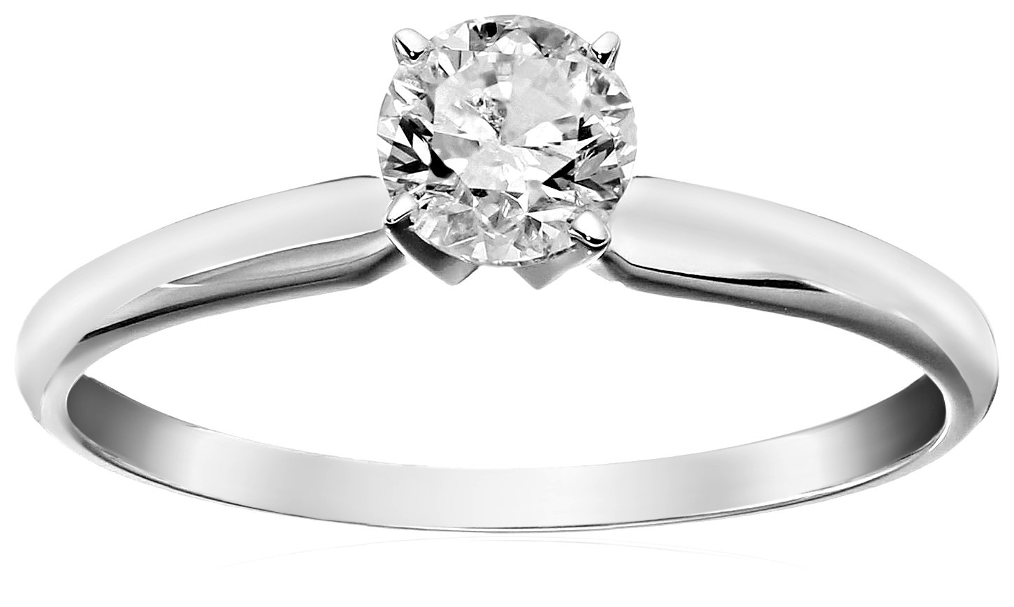14k Round Solitaire White Gold Engagement Ring (1/2carat, H-I Color, I3 Clarity), Size 6