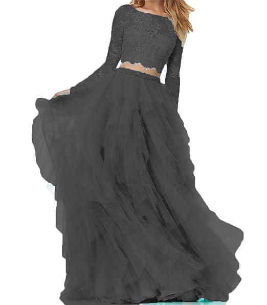 e2b1f55843e BanZhang Women s Lace Prom Dresses Long Sleeve Homecoming Dresses A Line  Tulle B280 Black 2
