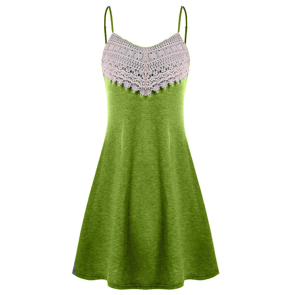 TnaIolral Women Dresses Crochet Lace Backless Mini Slip Camisole Sleeveless Skirt Army Green