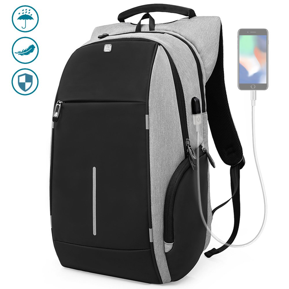 Business Laptop Backpack, HiOrange Travel Anti Theft Computer Backpack with USB Charging Port, Waterproof Night Light Reflective College school bag for Women & Men Fits 15.6 Inch Laptop and Notebook