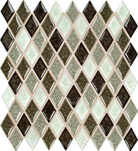 Mesh Mounted Glass Mosaics - M S International Saddle Canyon Rhomboid 12 In. X 12 In. X 8mm Glass Stone Mesh-Mounted Mosaic Wall Tile, (10 sq. ft., 10 pieces per case)