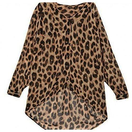 TOOGOO(R)Mode feminine Chemisier en mousseline de soie Leopard avec manches longues Veste de l'ourlet bas Chemisier lache