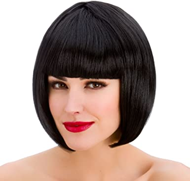 Ladies Fancy Dress Pageboy Wig Black 70/'s Fringe Wig 70/'s Wig