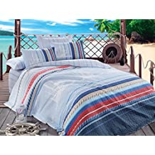 Orsa, 100% Cotton Multifunctional Four Season Nautical Bedding Set, Vintage Ship Themed Quilted Bedspread/Duvet Cover Set, Blue, (Twin 3 PCS, Full/Queen 4 PCS) (Full/Queen)