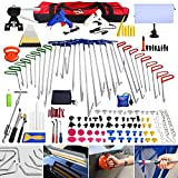 Super PDR 157pcs Professional PDR Rod Kit Spring Steel Push Hooks Auto Car Body Paintless Dent Removal Hair Damage Repair & Door Ding Remover Tools with Car Crowbar suction cup dent puller