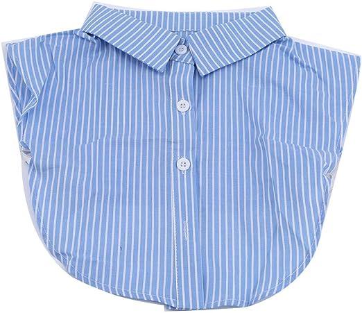 Ogquaton Media Camisa Falso Cuello Falso Desmontable Rayas ...