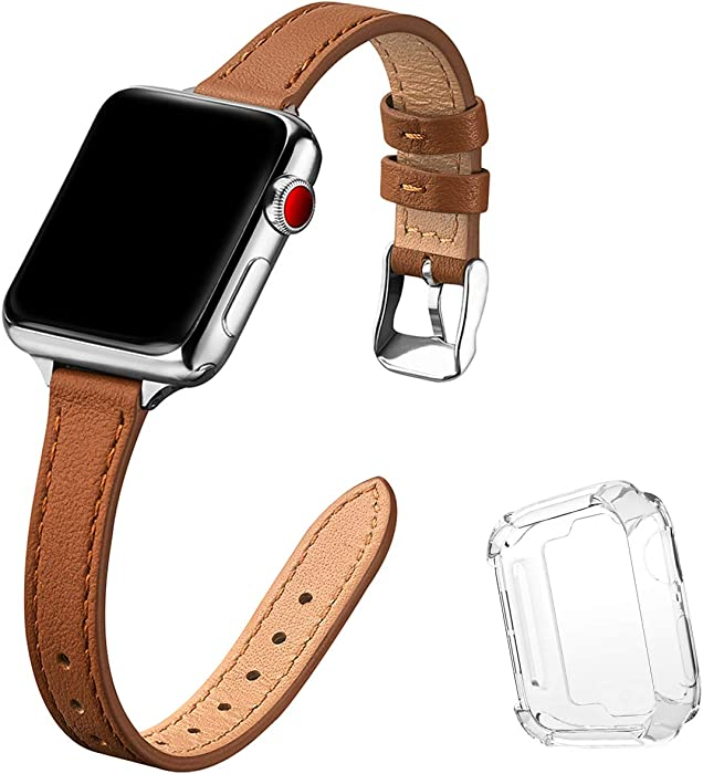 STIROLL Slim Leather Bands Compatible with Apple Watch Band 38mm 40mm 42mm 44mm, Top Grain Leather Watch Thin Wristband for iWatch SE Series 6/5/4/3/2/1 (Brown with Silver, 38mm/40mm)