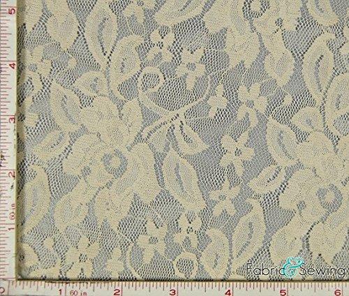 Taupe Flower With Leaf Stretch Lace Fabric 4 Way Stretch Nylon Spandex 4 Oz 56-58