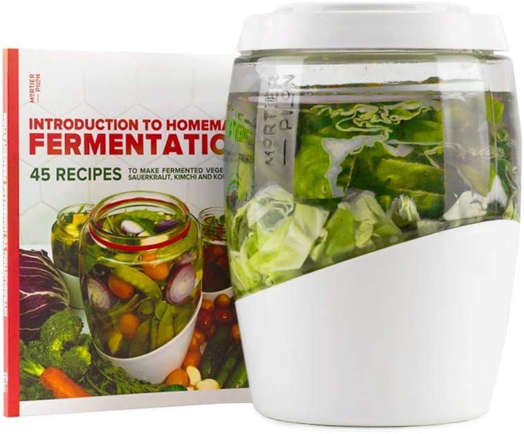 Mortier Pilon - 5L Glass Fermentation Jar + FREE recipe book - Make Easy Homemade Fermented Foods (kimchi, pickles, sauerkraut, organic vegetables)
