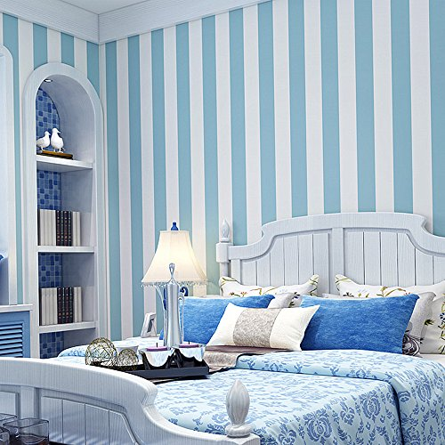 Modern Stripe Wallpaper (Blooming Wall: Modern Stripes Removable Peel-and-Stick Paint Wallpaper Self adhesive Wallpaper Wall Decor Contact Paper (Light Blue))
