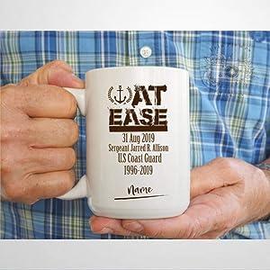 At Ease Mug, U.S. Coast Guard Coffee Mug,Ceramic Mug Cup for Office and Home,Tea Milk,Birthday For Her or Him,11oz