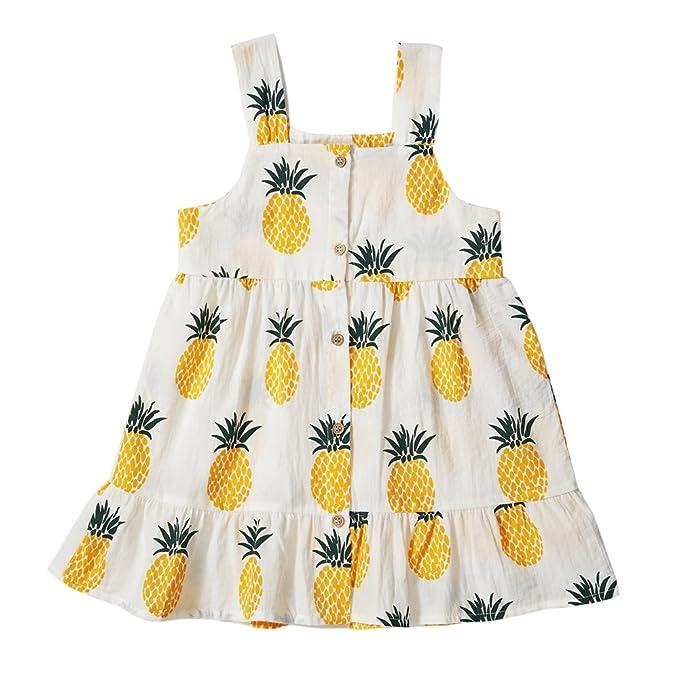 56deb0e3c Peony Baby Toddler Girls Dresses Summer Sundress Pineapple Prints Organic  18m-6T (2-